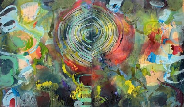 ptych Blue Swirl Diptych by Virginia Leonard