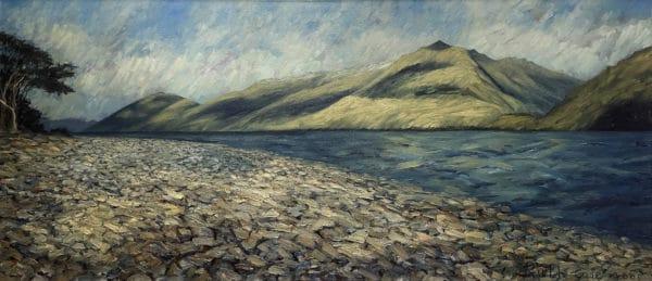Contemporary Landscape - Rocky Shore, Lake Wanaka by Ruth Cole