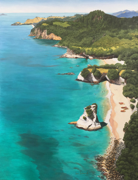 """Cathedral Cove - Hahei in Distance"" by Janet Bothner-by"