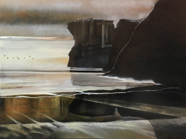 New Zealand Landscape Maori Bay by Jill Perrott. Landscape Painter, Auckland's West Coast. Art for sale and hire at Mobile Art Gallery