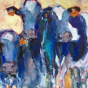 Three Friendly Fresians Painting, texture, colour