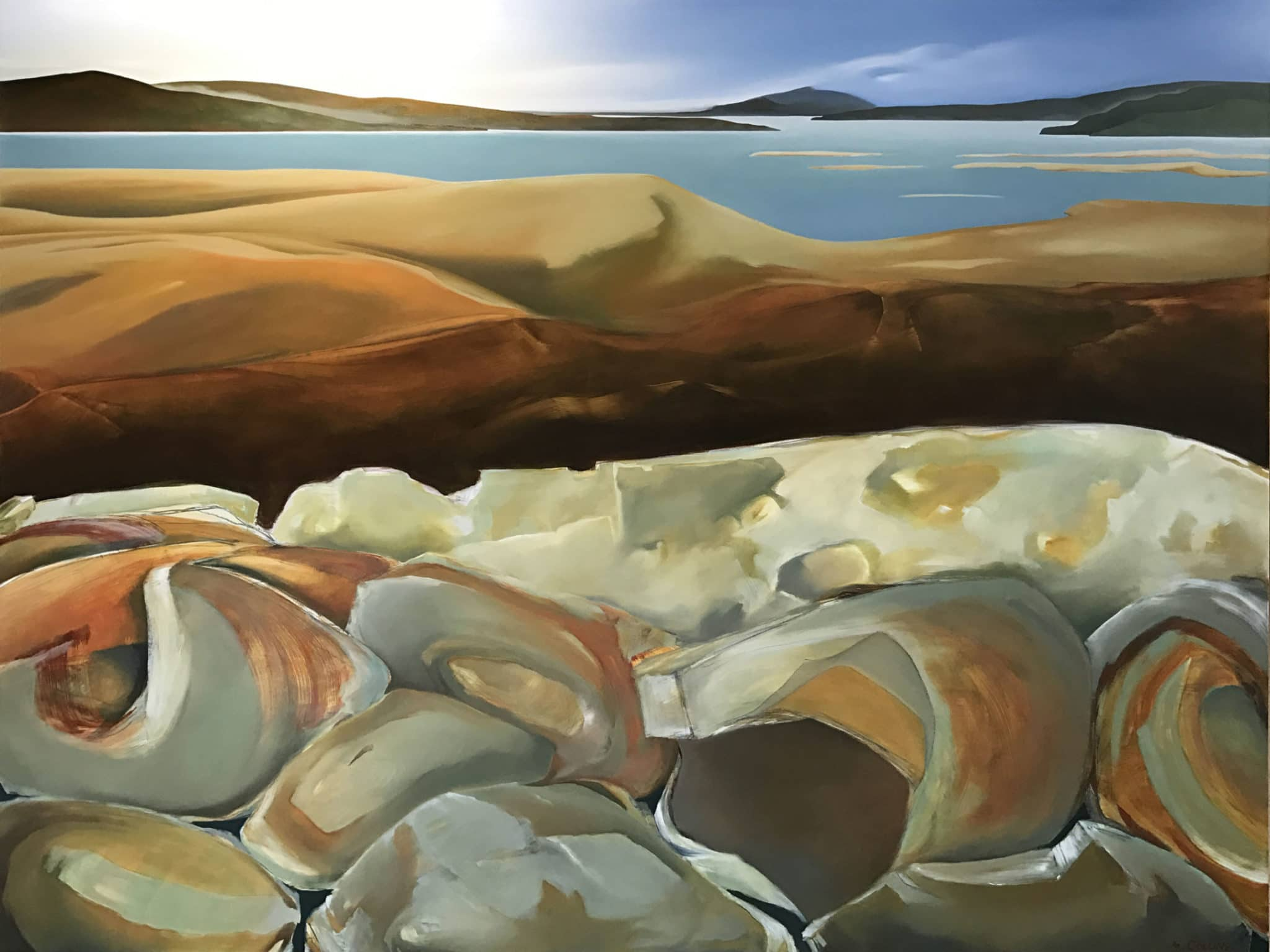 Oil Painting - Lava and Lake Ring Plain - Mobile Art Gallery