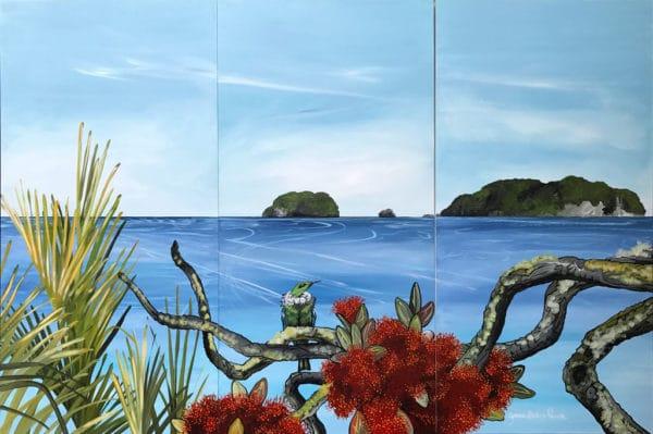 NZ Art Hahei Triptych by Janine Prowse