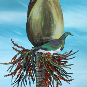 NZ Art Kereru on Nikau by Janine Prowse
