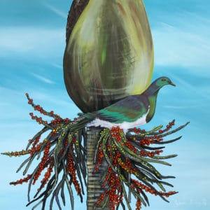 NZ Art Kereru on Nikau by Janine Prowse