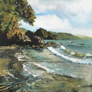 Landscape Art Sunlight on Te Kaha Surf by Kirsten McIntosh