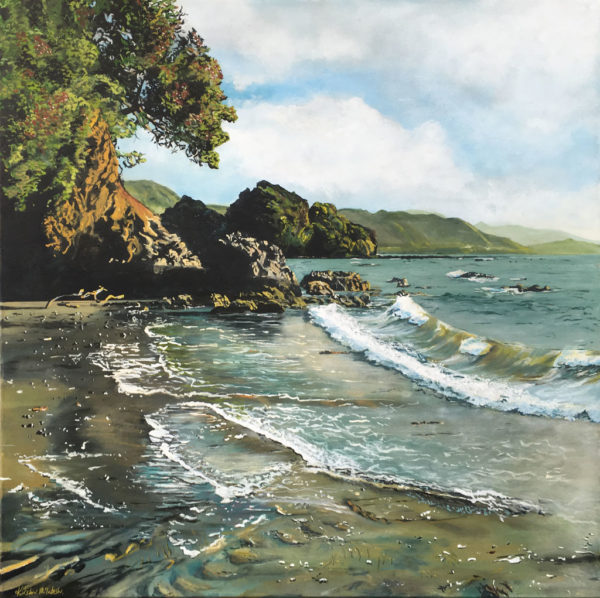Landscape Art Sunlight on Te Kaha Surf by Kirsten McIntosh