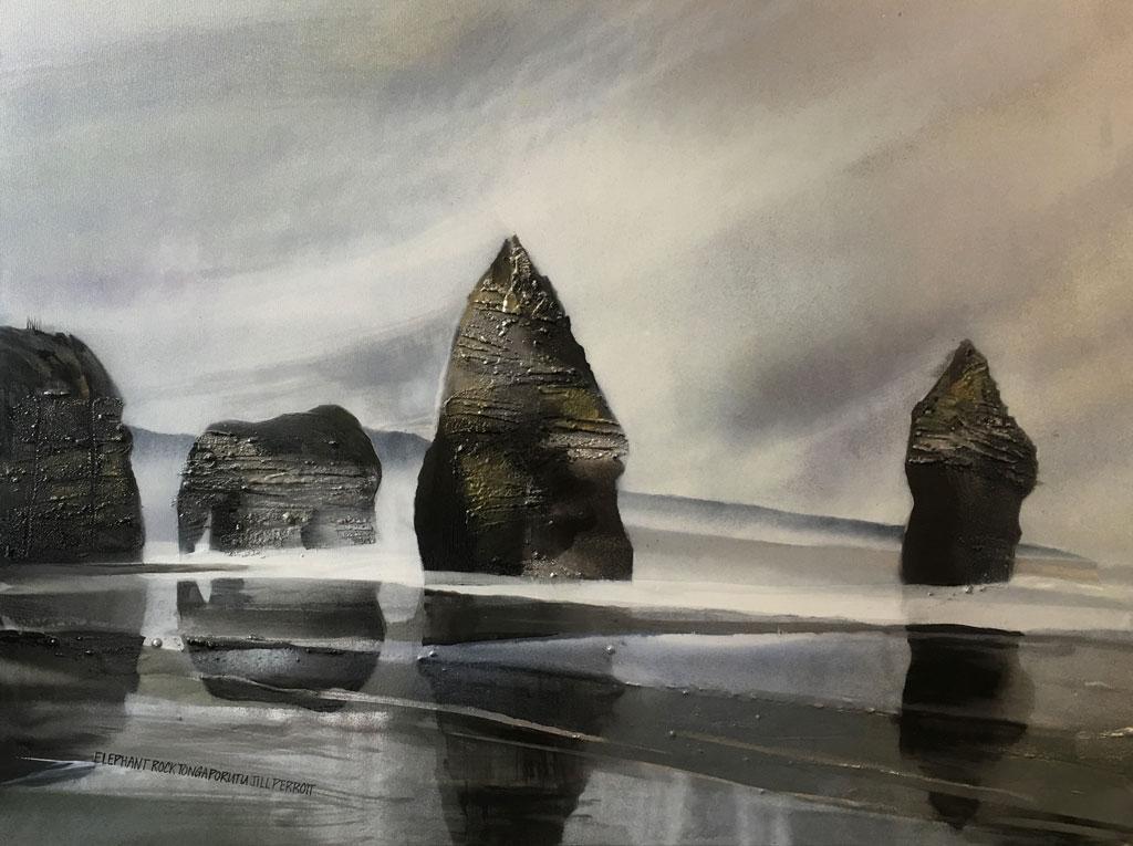 NZ landscape Elephant Rock by Jill Perrott