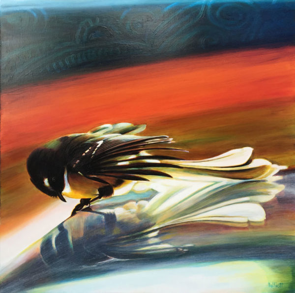 NZ Artwork Fantail Whispering by Alistair Elliott