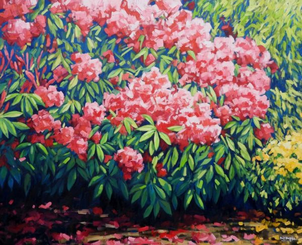 Oil painting - The Rhododendron Bush by Bill Burke