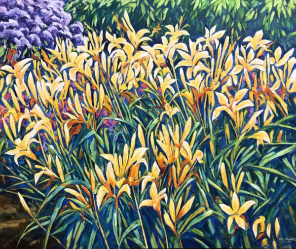Oil painting - Daylilies by Bill Burke