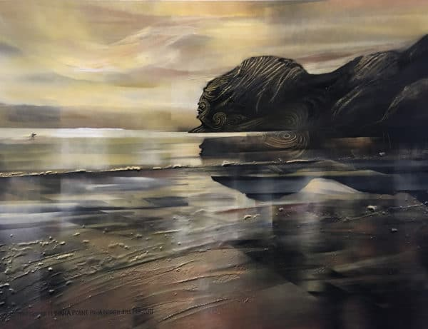 NZ landscape - Piha, Warrior of Te Waha Point by Jill Perrott
