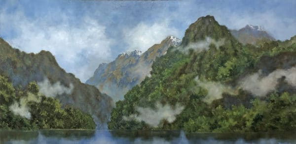 Landscape - Misty Mountain Ranges by Hazel Hunt