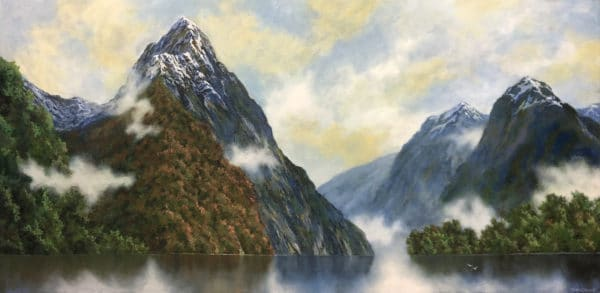 Landscape - Misty Mitre Peak by Hazel Hunt