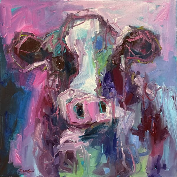 Farm Animals - Mauve Cow by Pauline Gough