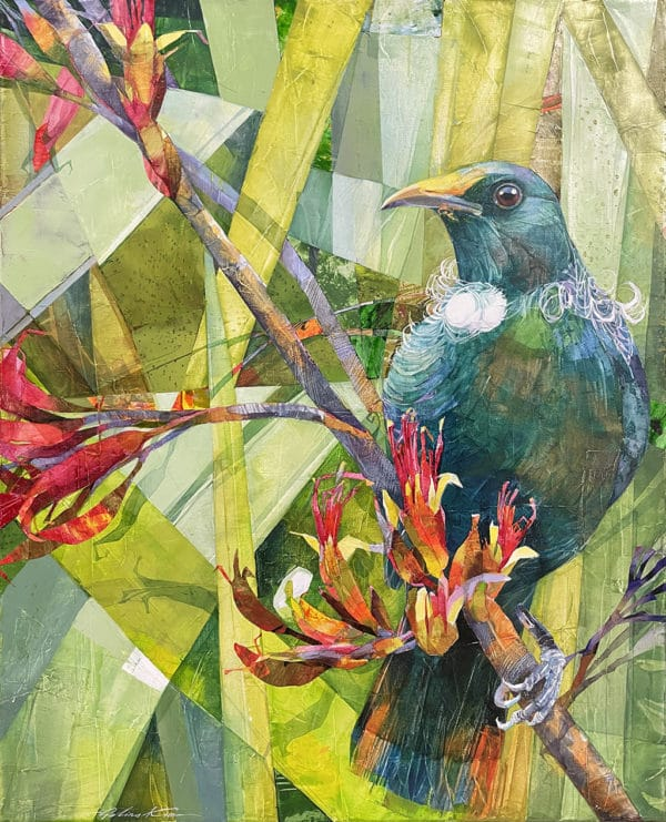 New Zealand Nature - Tui and Flax Flowers by Galina Kim