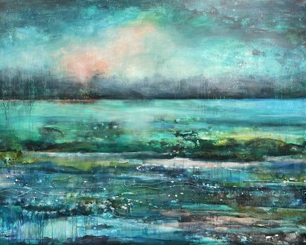 Contemporary landscape - Blue Vista by Lyndy Wilson