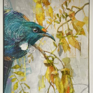 New Zealand nature painting - Tui and Kowhai Flowers by Galina Kim