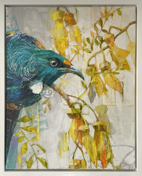New Zealand nature painting - Tui and Kowhai Flowers by Galina Kim